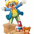 A clown with toys — Imagen vectorial