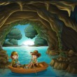 Royalty-Free Stock Vector Image: A cave with two kids riding in a wooden boat