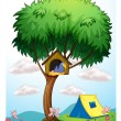 A pethouse above a tree near the tent — Stock Vector