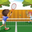 Two boys playing tennis inside the fence - Imagens vectoriais em stock