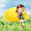 A girl holding a telescope near the grass - Imagen vectorial