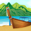 A beach with a wooden ship — Stock Vector