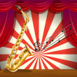 A saxophone and the musical notes at the stage — Stock Vector