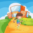 Stock Vector: Sweaty girl playing in front of school building