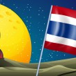 Постер, плакат: An airship at the back of the flag of Thailand