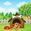 A dog with a ball inside a doghouse — Stock Vector