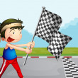 A young boy holding a checkered banner — Stock Vector
