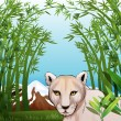 A scary tiger at the bamboo forest — Stock Vector
