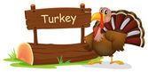 A turkey with a wooden signboard — Stock Vector