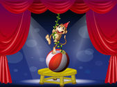A monkey performing at the circus — Stockvector