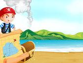 Pirat z mapą w pobliżu morza — Wektor stockowy
