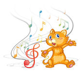 A dancing cat with musical symbols — Stock Vector