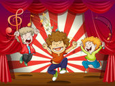 Kids singing at the stage — Stock Vector
