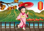 леди носить розовые кимоно с зонтиком — Cтоковый вектор