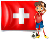 A soccer player in front of a swiss flag — Stock Vector