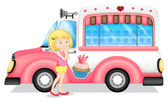 A young girl beside the pink bus — Stock Vector
