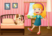 A little girl and her toy inside the bedroom — Stock Vector
