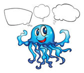 A blue octopus thinking — Stock Vector