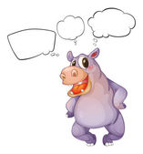 A hippopotamus thinking — Stock Vector