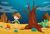 A desert with a young boy — Stock Vector