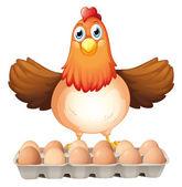 A dozen of eggs and the mother hen — Stock Vector