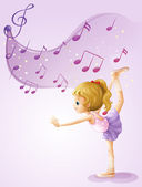 A girl dancing with musical notes — Stock Vector