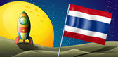 タイの旗の後ろの飛行船 — ストックベクタ