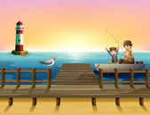A sunset at the port with boys fishing — Stock Vector