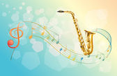 A saxophone and the musical symbols — Stock Vector