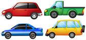 Vier verschillende voertuigen — Stockvector