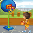 A little boy playing basketball — Stock Vector #21917217