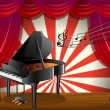 A piano at the stage with musical notes — Stock Vector