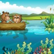 Two beavers playing in the lake — Stock Vector #21917251