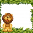 Stock Vector: Empty leafy frame with lion