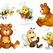 Two bears and four bees — Vector de stock