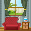 A cat at the sofa watching the fish in the aquarium — Stock Vector