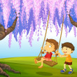 A young boy and girl playing at the park — Imagen vectorial