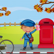 A mailboy beside a mail box — Imagen vectorial