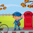 A mailboy beside a mail box — Vettoriali Stock