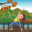 A girl exercising at the bridge with a lantern — Stock Vector
