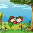 The two lovers in the forest — Stock Vector