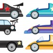 Stock Vector: Six different styles of toy cars