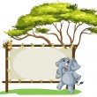An elephant beside an empty framed signage — Stock Vector