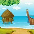 A beach with a cottage and a wooden boat — Stock Vector
