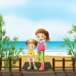 A young boy and a girl at the bridge near the beach — Stock Vector