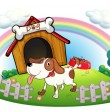 A doghouse inside the fence with a puppy — Stock Vector #21917489