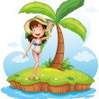 A girl wearing a bikini with a hat in front of a coconut tree — Stock Vector