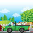 A green car along the street with dogs at the back — Imagens vectoriais em stock