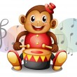 A monkey playing with the drum - Stock Vector