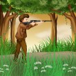 Hunter inside jungle — Vector de stock #21917603